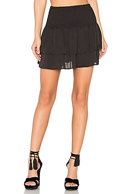 Shirred Mini Skirt in Black