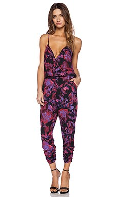 Eight Sixty Jumpsuit in Black Fuchsia Orchid