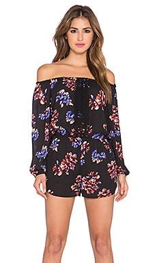 Eight Sixty Dutchess Peasant Romper in Black, Purple & Red