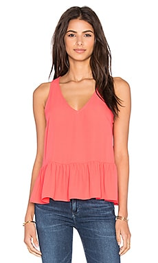 Eight Sixty Ruffle Tank in Neon Coral