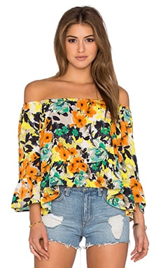 Eight Sixty Poppy Garden Top in Yellow & Orange