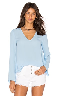 Eight Sixty Long Sleeve V Neck Blouse in Illusion Blue