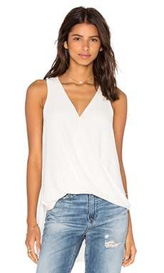 Eight Sixty V Neck Drape Tank Top in Ecru