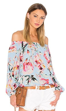 Stella Off The Shoulder Top en Bleu Ciel