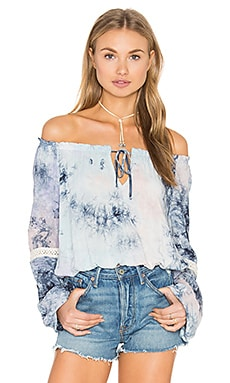 Eight Sixty Crystal Tie Dye Top in Pastel & Navy