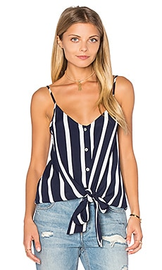 Eight Sixty Knotted Button Front Tank in Navy & White