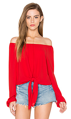 Eight Sixty Off The Shoulder Tied Waist Top in Cherry Pie