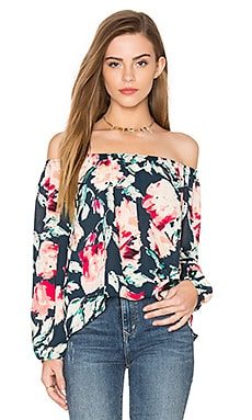 Off The Shoulder Long Sleeve Top en Marine