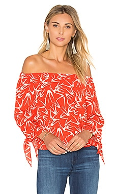 Eight Sixty In Flight Off Shoulder Top in Chili & Shell