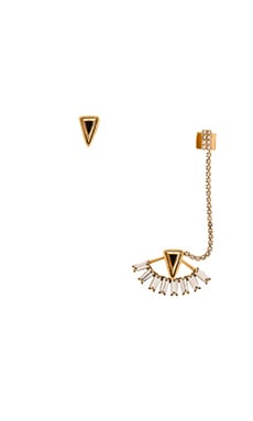 Elizabeth Cole Triangle Ear Cuff Set in Crystal & Gold