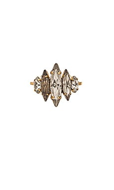 Elizabeth Cole Pointed Ellipse Ring in Crystal