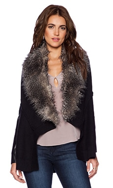 Ella Moss Ava Jacket With Faux Fur Trim in Black