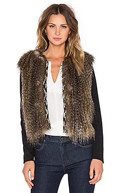 Ella Moss Maud Faux Fur Jacket in Oatmeal