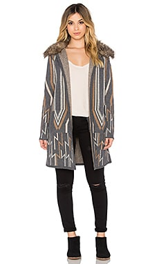 Ella Moss Elsa Faux Fur Coat in Charcoal & Multi
