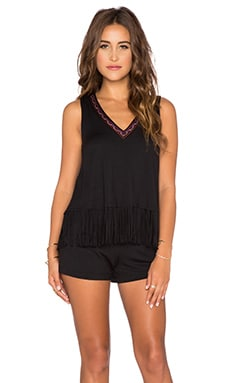 Ella Moss Bella Fringe Romper in Black