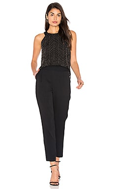 Frances Beaded Mesh Jumpsuit in Black