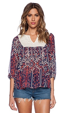 Ella Moss Flora Vista Blouse in Navy