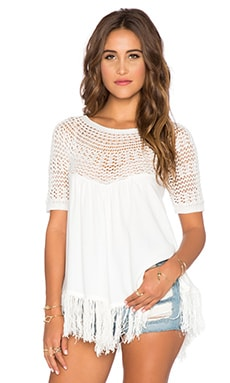 Ella Moss Sabrina Fringe Top in White