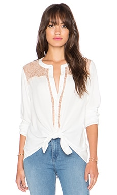 Stella Button Up Lace Blouse en Naturel