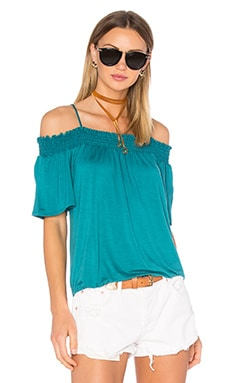 Bella Cold Shoulder Top en Bleu canard