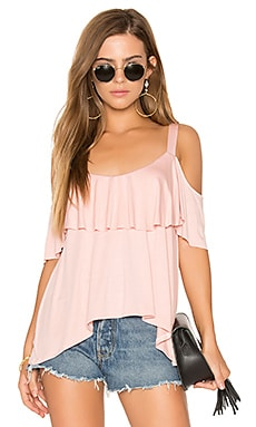 Bella Cold Shoulder Top in Powder Pink
