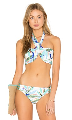 Birds of Paradise Wrap Bandeau Bikini Top in Multi