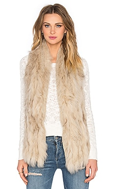 Liberty Asiatic Raccoon Fur Vest in Sand
