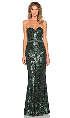 Elle Zeitoune Gina Gown in Bottle Green