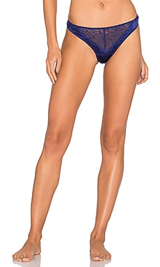Signature Silk & Lace Thong in Blue Iris