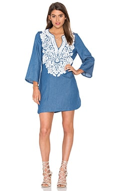 Embroidered Denim Shift Dress in Denim Blue