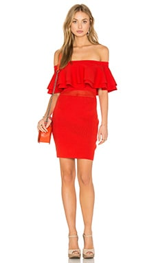 Endless Rose Off The Shoulder Ruffle Dress in Red Orange