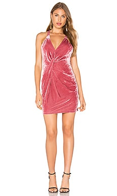 Gather Me Velvet Dress in Deep Rose
