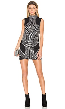 High Neck Embellished Mini Dress in Black Combo
