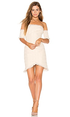 Frayed Trim Dress in Ivory