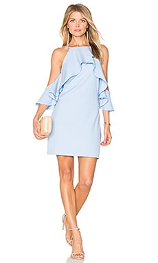 Flared Ruffle Dress in Powder Blue