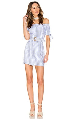 Off The Shoulder Plaid Dress With Belt en Periwinkle Combo