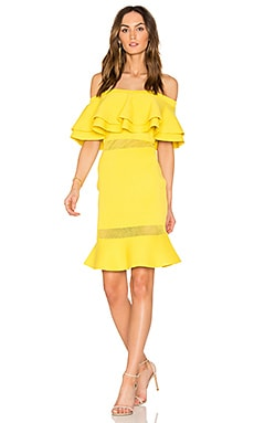 Flared Sweater Off The Shoulder Dress en Citron