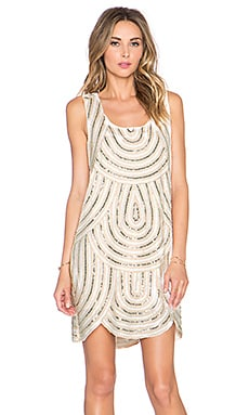 Endless Rose Embellished Scalloped Dress in Taupe