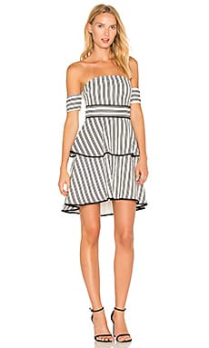Striped Off the Shoulder High Low Dress