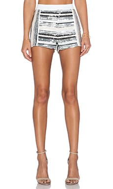 Endless Rose Embellished Striped Shorts in Silver Combo