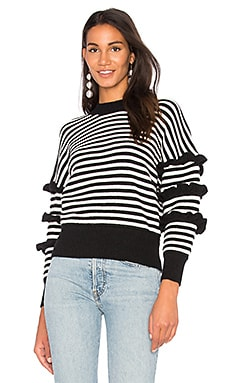 Ruffle Sleeve Detail Stripe Sweater