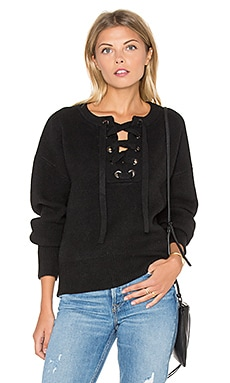 Endless Rose Lace Up Sweater in Black