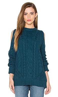 Cut Out Sleeve Sweater en Bleu canard