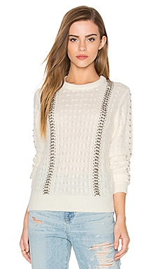 Endless Rose Long Sleeve Beaded Detail Sweater in White