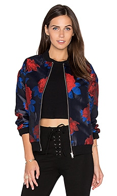 Floral Bomber Jacket in Dark Navy & Scarlet Combo