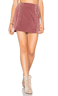 Lace Up Skirt in Mauve