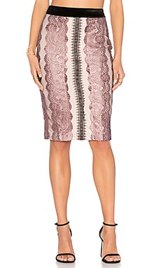 Lace Midi Skirt in Blush Pink Combo