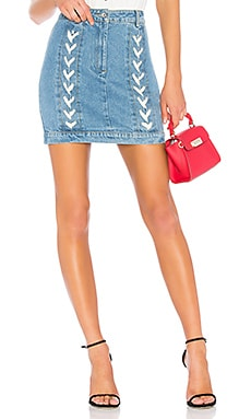 Lace Up Denim Skirt Endless Rose $45