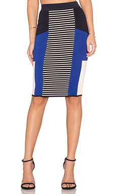 Endless Rose Colorblocked Skirt in Blue Combo
