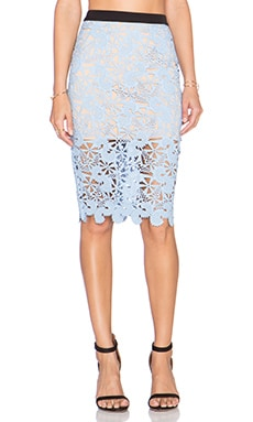 Endless Rose Floral Lace Skirt in Blue